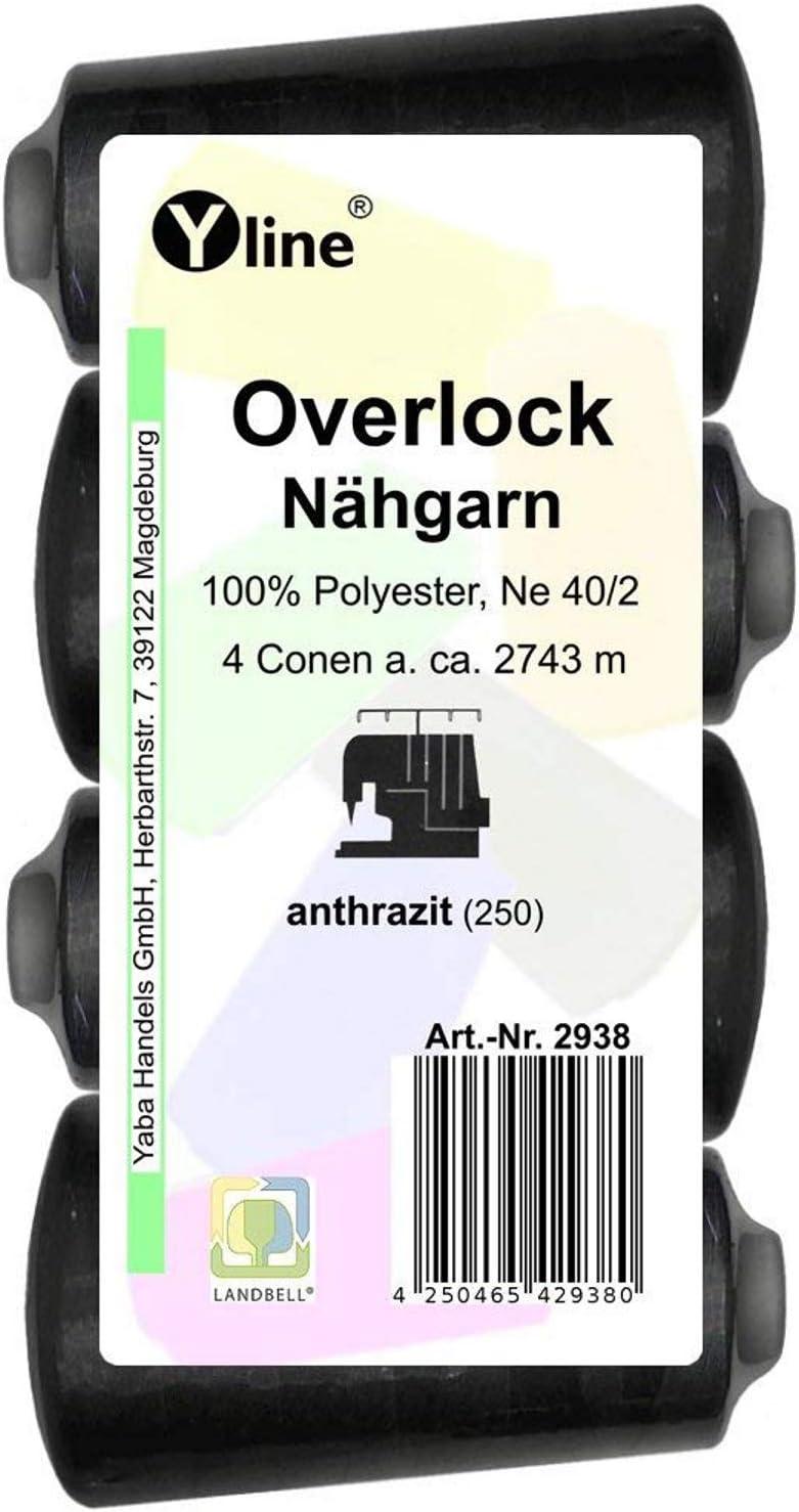2743/M 2962 /Fil /à Coudre,/ ne 40//2 A /gris clair Lot de 4/bobines Overlock/ 100/% polyester n/ähfaden fil /à coudre