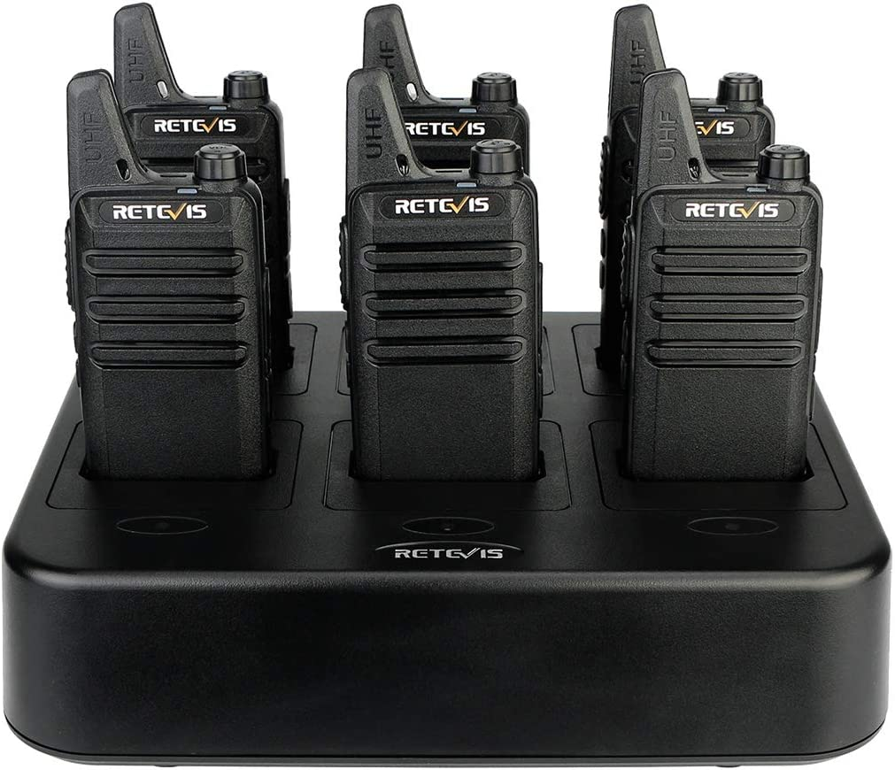 with Six Way Gang Charger USA1012A@10-C9001A@10-J0012A Retevis RT22 Walkie Talkies Rechargeable Hands Free 2 Way Radios 6 Pack