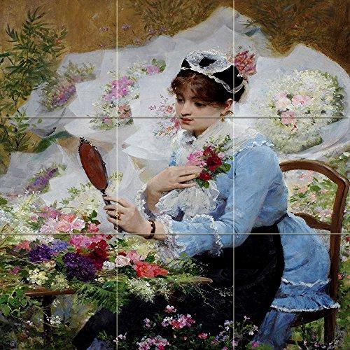 Tile Mural The Flower Seller by Victor Gabriel Gilbert Girl Woman Mirror -