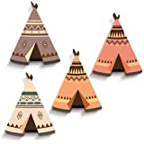luvel® (M5) - 4er-Set Süße, Bunte Indianer Tipis 15,5 x 19,5 cm in 3 Effekt als Kinderzimmer Deko - 10mm Kunststoff - NEUHEIT MADE IN GERMANY