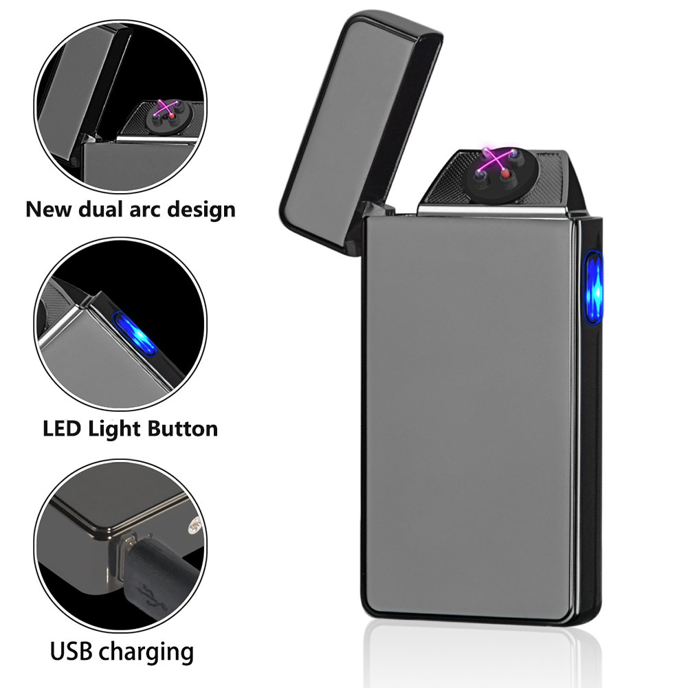 Amazon.com: Oiikury Electric Lighter Rechargable Plasma Lighter Flameless Windproof Tesla Lighter Dual Arc Butane Free(Black ice): Sports & Outdoors