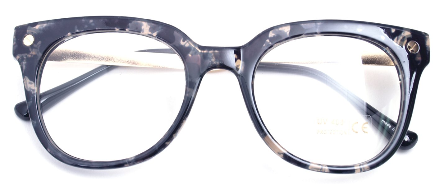 Classic Round Horn Rimmed Eye Glasses Clear Lens Oval Non Prescription Frame (Marble Black 89137, Clear)