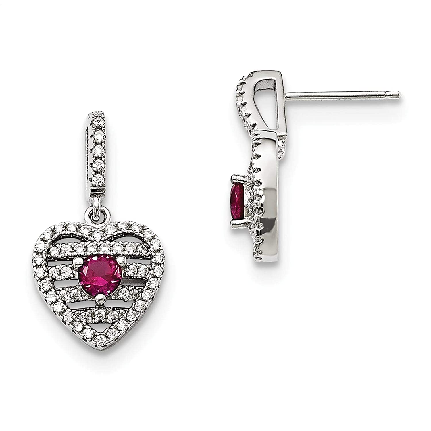 Brilliant Embers Sterling Silver Rhodium-plated Polished Simulated Ruby /& CZ Heart Dangle Post Earrings