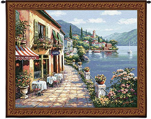 - Overlook Cafe I by Sung Kim | Woven Tapestry Wall Art Hanging | Classic Mediterranean Village Coastal Cobblestone Walkway | 100% Cotton USA Size 53x44