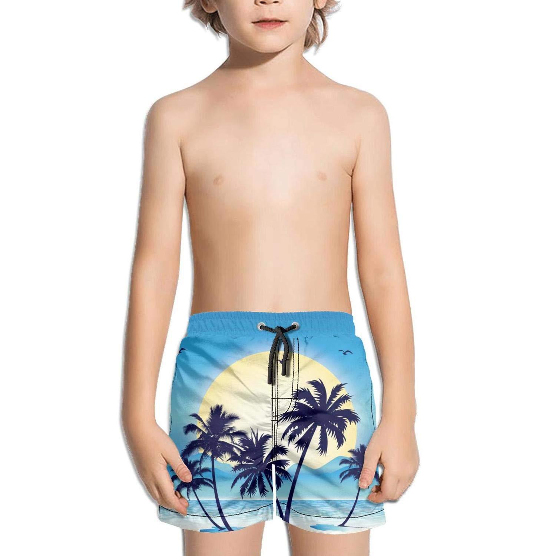 Boys Kids Birds Beach Palm tree-01 Quick Dry Beach Swim Trunk Cute Swimsuit Beach Shorts with Drawstring