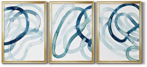 Wall Art, Home Décor, Rustic, Contemporary, Art Deco, Italian, Lazuli I Gold Framed Canvas, 3 Piece Set, 22X30