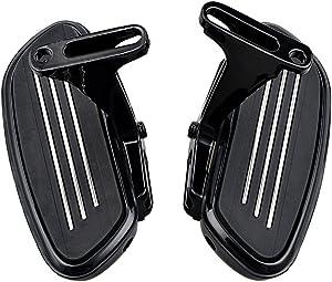 Passenger Floor Boards Footboards w/Mount Bracket Kit Replacement for 1993-2018 Harley Touring (Streamliner Style, Black)