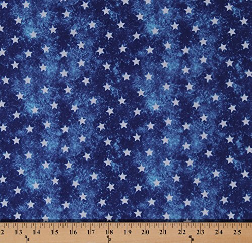Cotton White Stars on Marbled Blue Patriotic America USA Fourth of July Independence Day Cotton Fabric Print by the Yard (Patriotic Cotton Fabric Stars)