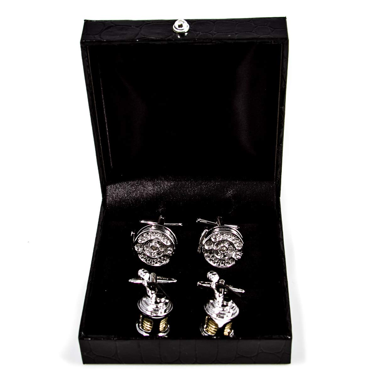 MRCUFF Fishing Reels Deep Sea /& Fly 2 Two Pairs of Cufflinks in a Presentation Gift Box /& Polishing Cloth