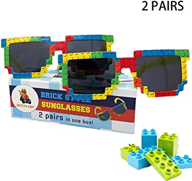 2 Pairs Brick-Theme UV Protected Sunglasses in Fun Gift Box. Build in Style! Kids Family Boys Girls Party Neon Toy Building Shades Lens Bulk Pool ...