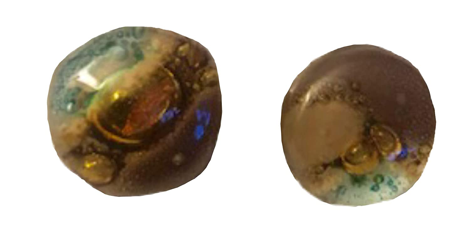 Lots of Bubbles Recycled Fused Glass Medium Round Earrings Brown//Green Studs