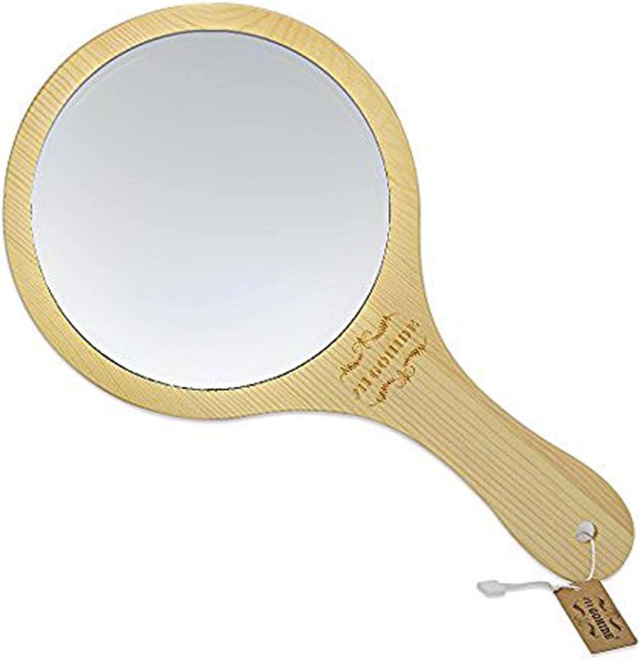 GOHIDE Handmade Portable Handle Round Cosmetic Mirror Wooden Makeup Portable Mirror Beauty Vanity Decorative Wood Mirrors HSU