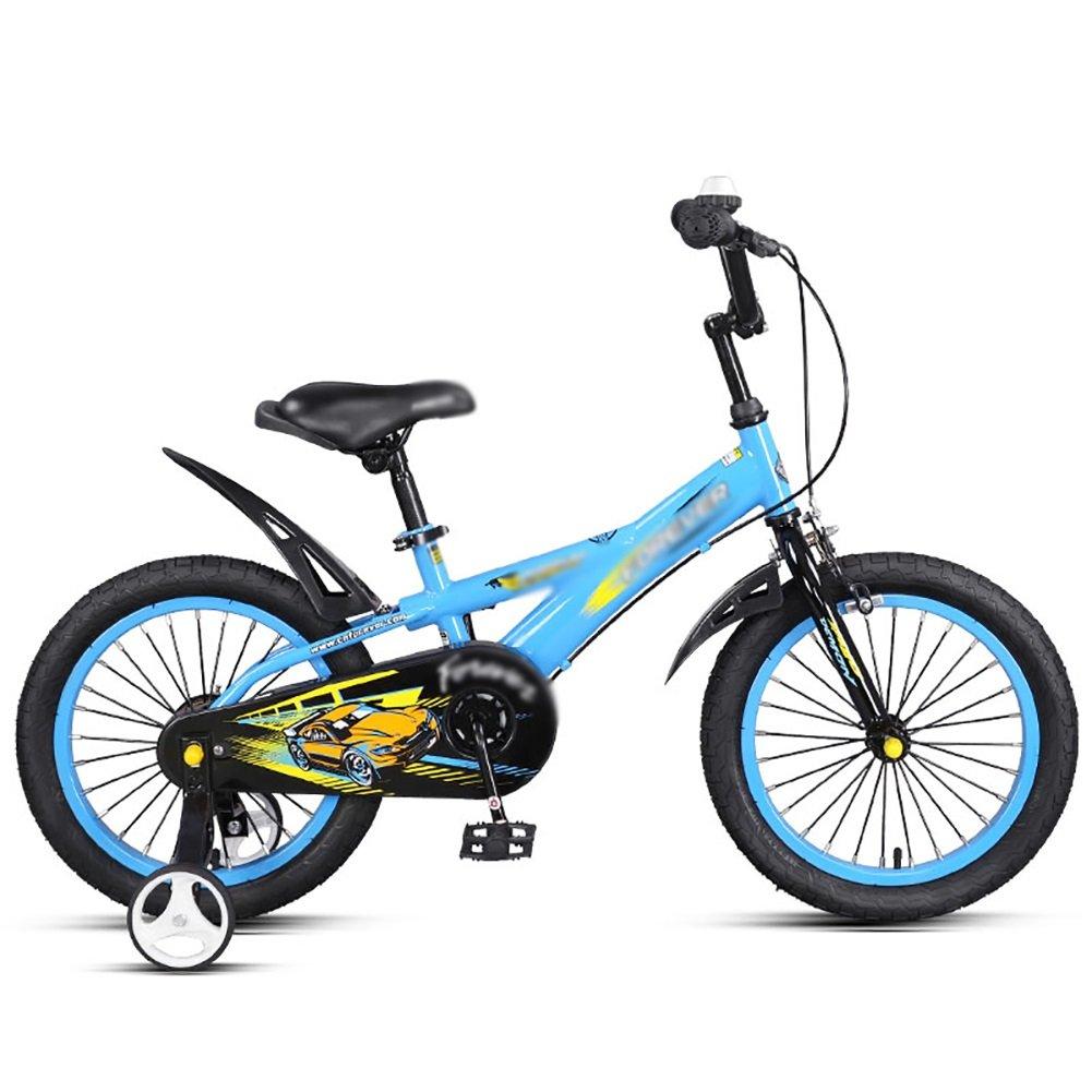男の子、女の子、子供ペダル自転車、子供用自転車14 16インチ3-5-6歳の赤ちゃんキャリッジ、青黄色 B07DWKQ3JV 14 inch 青 青 14 inch
