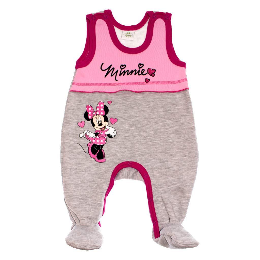 Disney - Minnie Mouse Baby bequemer Mädchen Strampler ärmellos Spiel-Anzug Overall Outfit WARM mit Füssen Gr 62 68 74 Baumwoll in Rosa oder Grau ideal für Winter mit Fuss