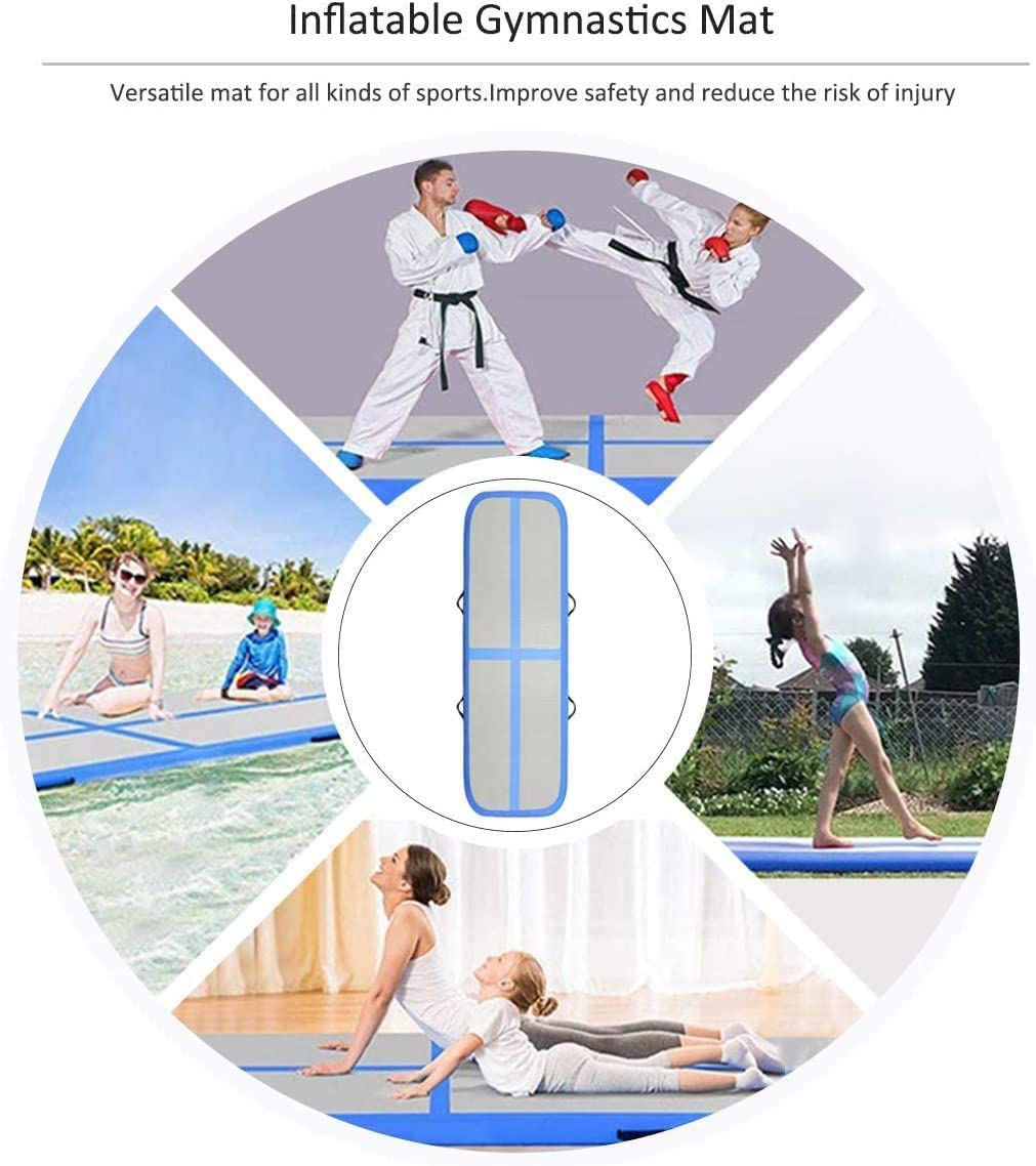 Air Barrel Roller Inflatable Tumbling Mat 4//8 inch Thickness Gym Training Mat for Aerobics//Cheerleading//Yoga with Pump Syellowafter 20//19//13//10ft Gymnastics Air Track Mat
