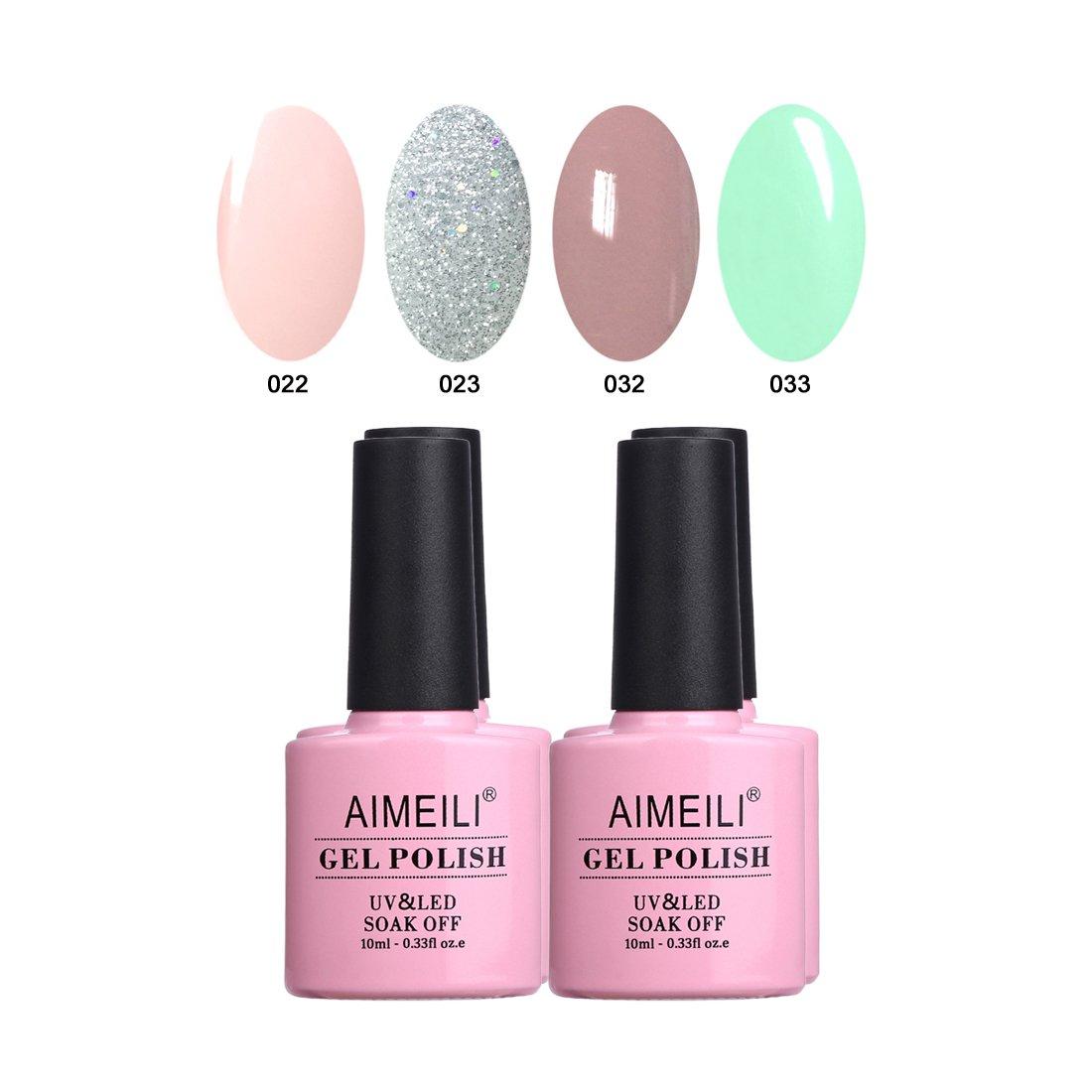 AIMEILI Nude Gel Nail Polish Set Soak Off UV LED Gel Polish Multicolour/Mix Colour/Combo Colour Of 4pcs X 10ml - Gift Kit 18