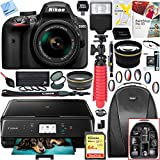 Nikon D3400 24.2 MP DSLR Camera w/ AF-P DX 18-55mm VR Lens Kit (Black) and Canon Pixma MG3620 Wireless Inkjet All-In-One Multifunction Photo Printer 64GB Accessory Bundle