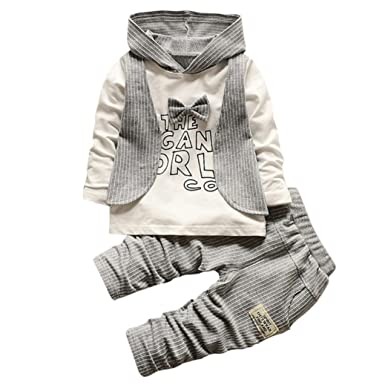 a7164b60315f Dinglong 2pcs Newborn Infant Kid Clothes Boys Cute Stripe Hoodie ...