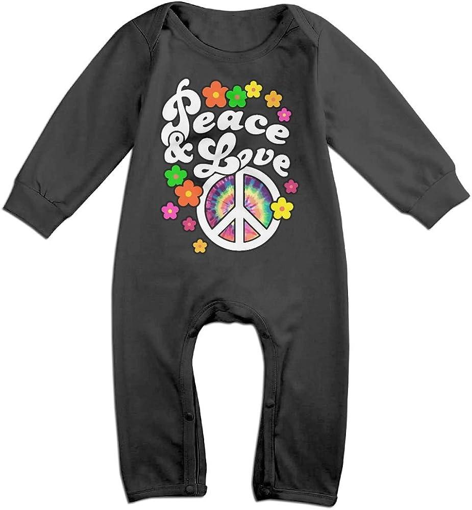 Tie Dye Peace Sign Cotton Baby Bodysuit Romper Short Sleeved 0-24 Months
