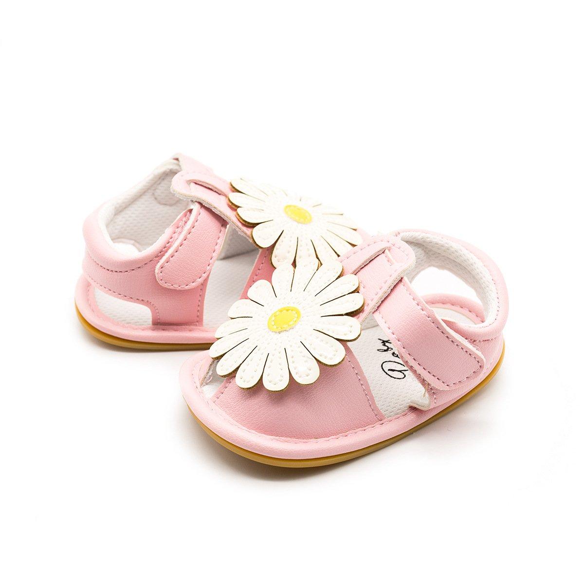 HONEY$HOMEY Baby Girls Sneaker Shoes Ultra-Soft Sunflower Decor Rubber/Sole Infant Crib Sandals