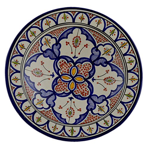 - Hand Made Moroccan 14 Inches Serving Plate Pasta Bowl Salad Bowl Mediterranean Pottery