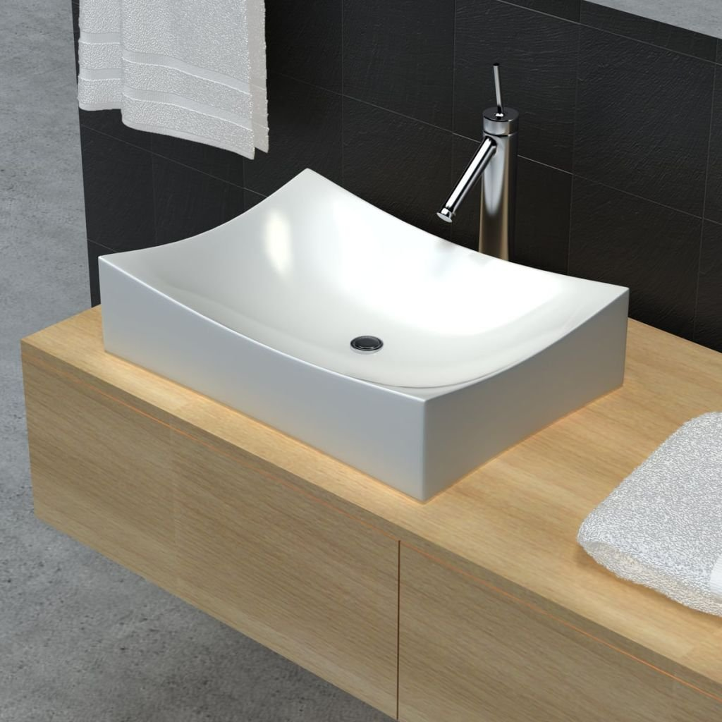 Bathroom Sink Ceramic Porcelain Sink Art Basin White Bathroom Sink Size 25.8'' x 15.4'' x 5.5'' (W x D x H) Wash Basin Practical Vessel for Everyday to Use by Chloe Rossetti