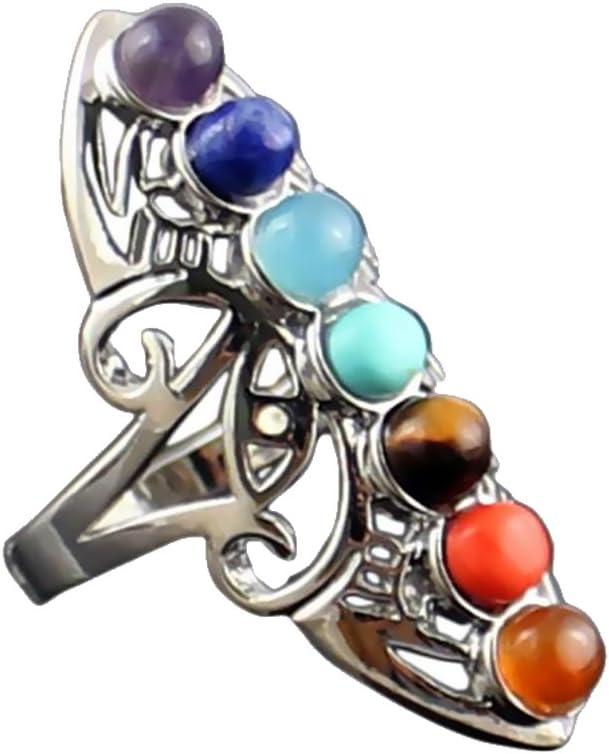 Hellery Anillo De Dedo Intercambiable Perlas De Piedras Preciosas De ágata De Cristal Natural