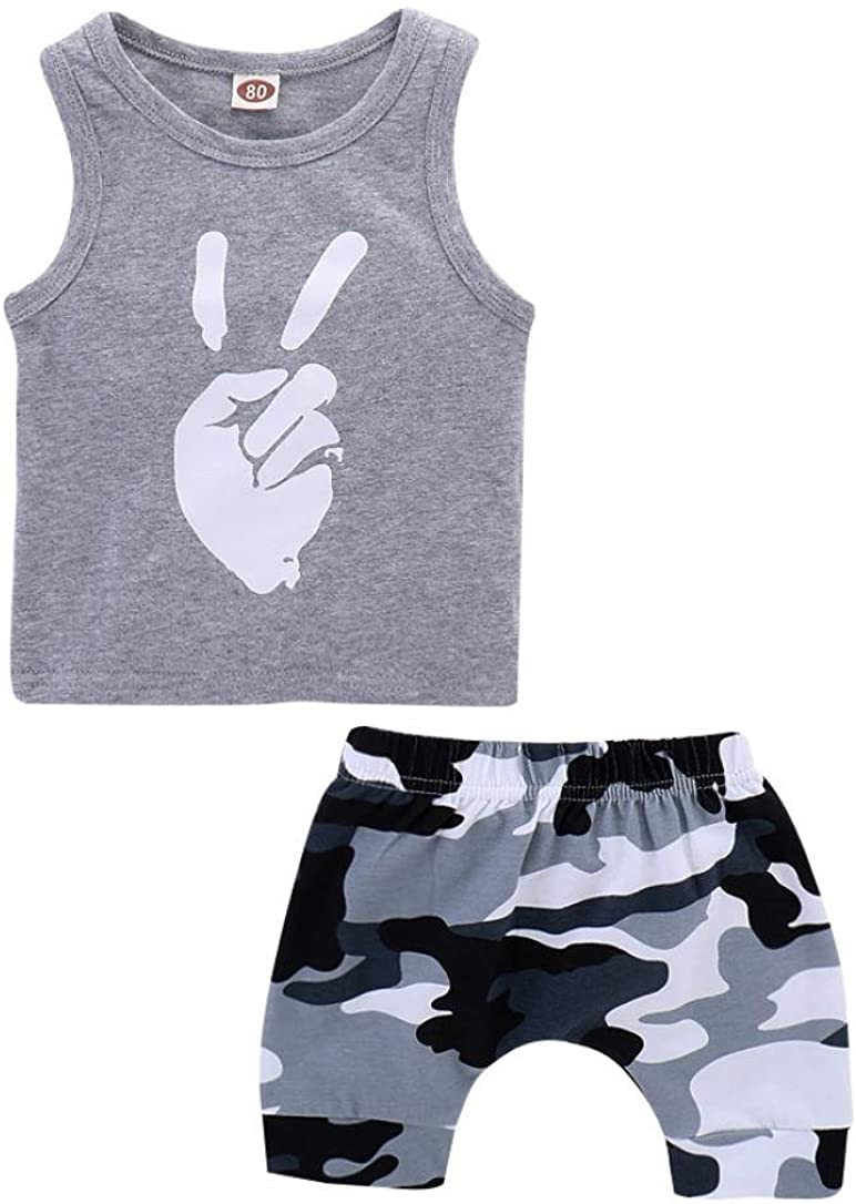 Camouflage Shorts Suit Little Girl Casual Outfit Kehen Kids Toddler Boy Summer Clothes Victory Vest Top