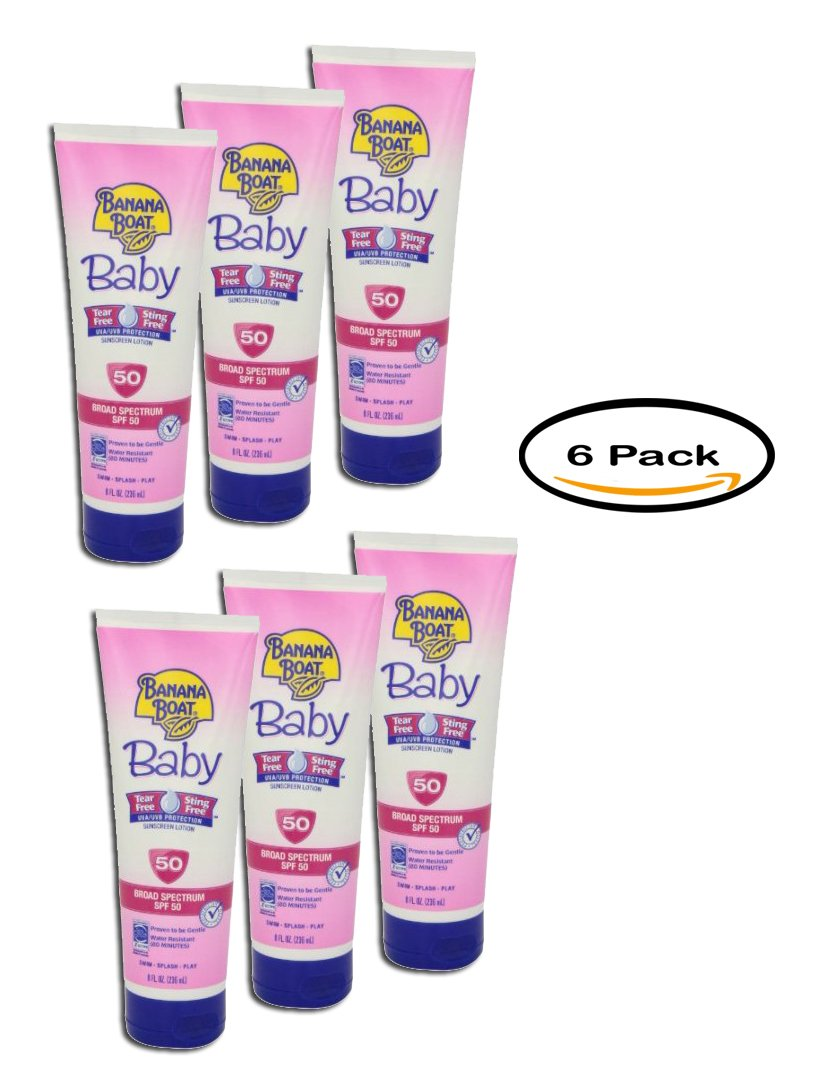 PACK OF 6 - Banana Boat Baby Tear-Free Sting-Free Lotion Sunscreen Broad Spectrum SPF 50 - 8 Ounces by Banana Boat