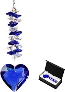 Together-life 45mm/1.77Inch Heart Glass Crystal Ball Prism Pendant, Crystal Suncatcher Clear Faceted Crystal Ornament Rainbow Maker for Windows, Outdoor Garden Hanging Décor Gifts(Blue)