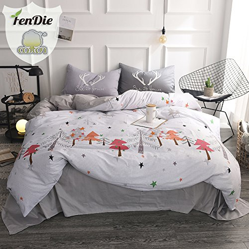 FenDie Pine Tree Pattern Bedding Sets Queen, Christmas Forest Duvet Cover Set with 2 Pillowcases, 100% Cotton, Reversible Durable (Christmas Pine Tree)