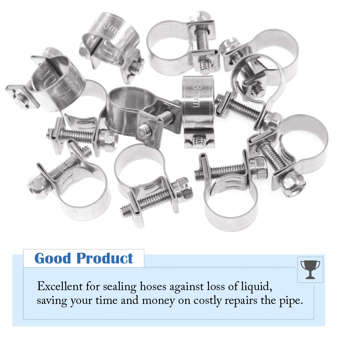 9//16-5//8 Dia Glarks 12Pack 14-16mm Stainless Steel Mini Fuel Injection Hose Clamps Adjustable Pipe Hose Clip Tube Clamps Set