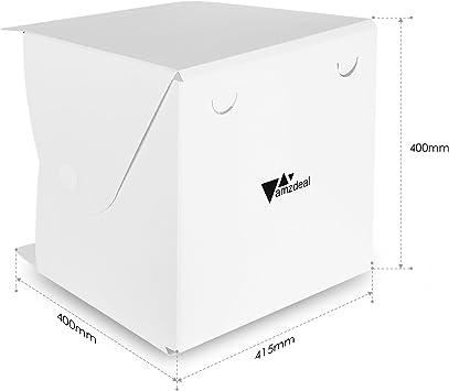 Amzdeal Caja de fotografía Caja de luz portátil 40 x 40 cm para ...