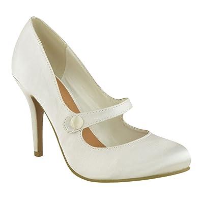 e3c6911f15e082 FEMMES TALON BAS BRIDE CHEVILLE TALON HAUT ESCARPIN CHAUSSURES DE TRAVAIL  TAILLE DE SANDALES - Blanc