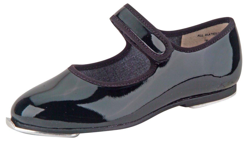 Danshuz Toddler/Child Black Patent Loop Tape Fastener Tap Shoes (Size - 9 Medium)