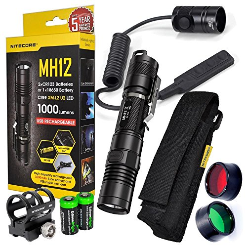 Nitecore MH12 1000 Lumens CREE LED long throw tactical flashlight, 18650 rechargeable Li-ion battery, RSW1 Pressure Switch and GM02 Mount, red & green filters with 2X EdisonBright CR123A