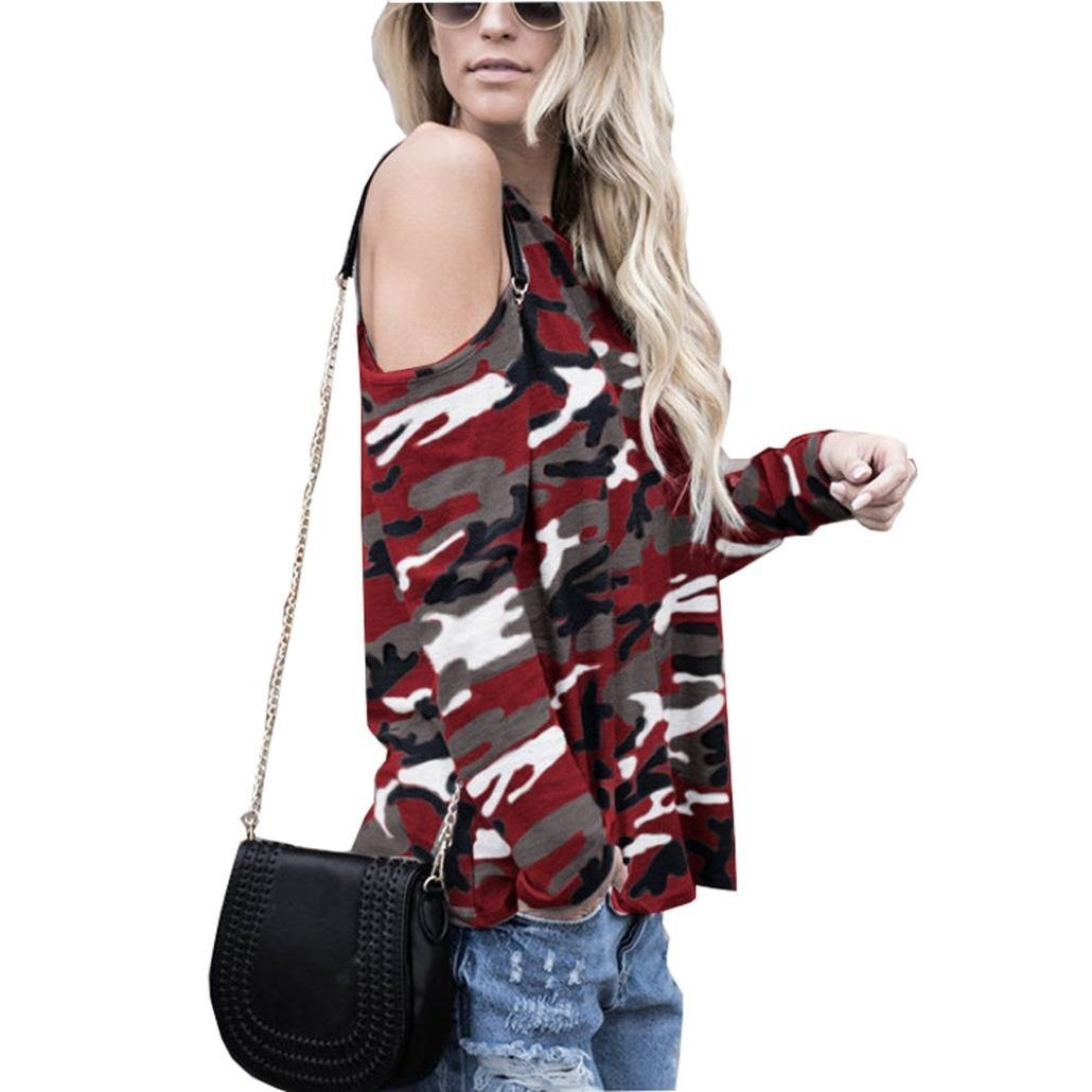 NREALY Women's Tops Off Shoulder Camouflage Long Sleeve Blouse T-Shirt Tee Hoodie NREALY-Tank-072901