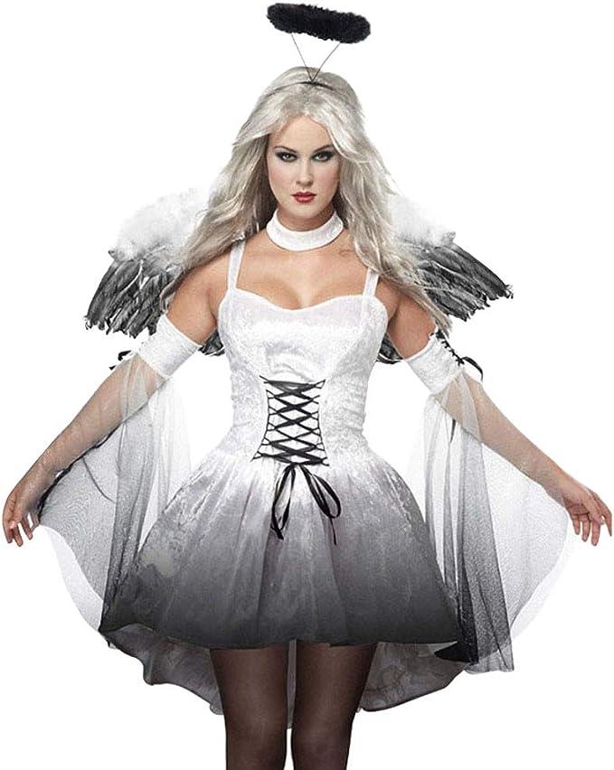 Disfraz de Cosplay de Halloween, Mujer Cosplay Vestido Negro de ...
