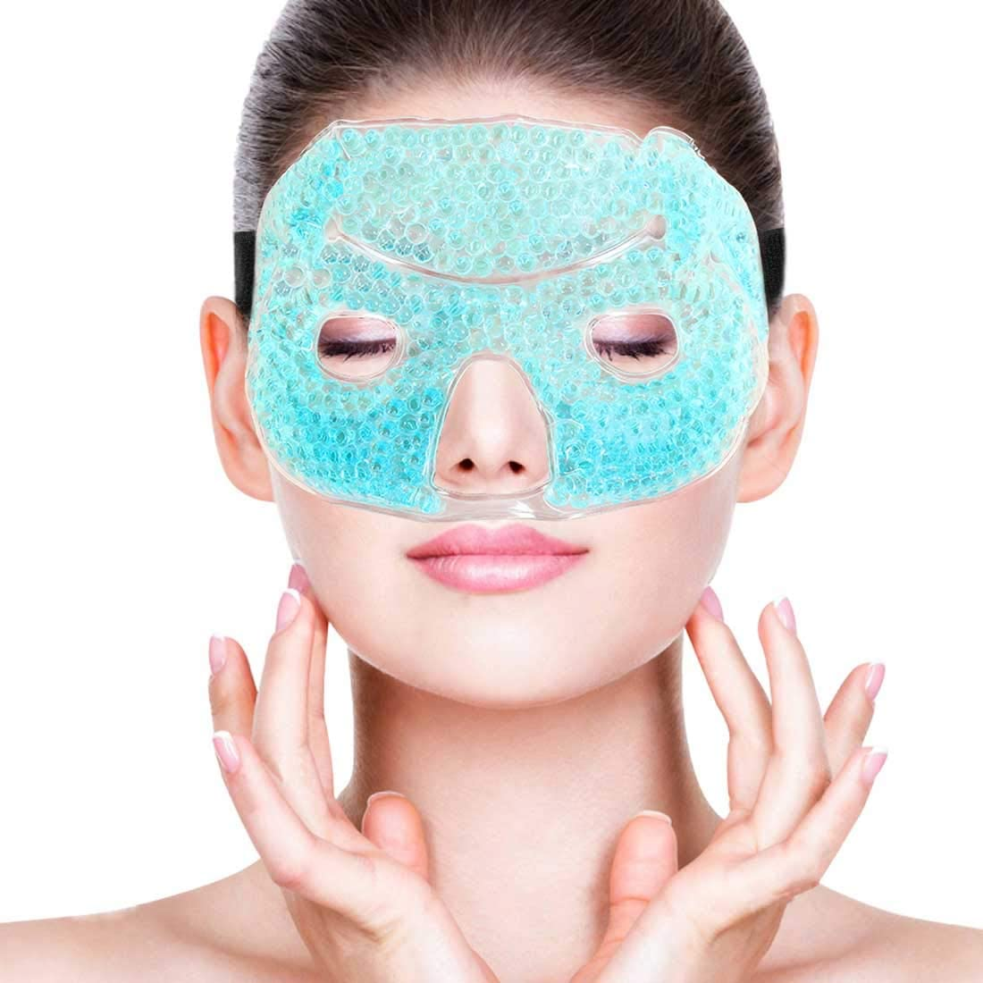 Cold Ice Face Mask Pack - Eye Cooling Gel Bead Mask for Puffy Eyes, Sinuses, Migraine Headache Relief, Dark Circles, Dry Eye - Adjustable, Reusable