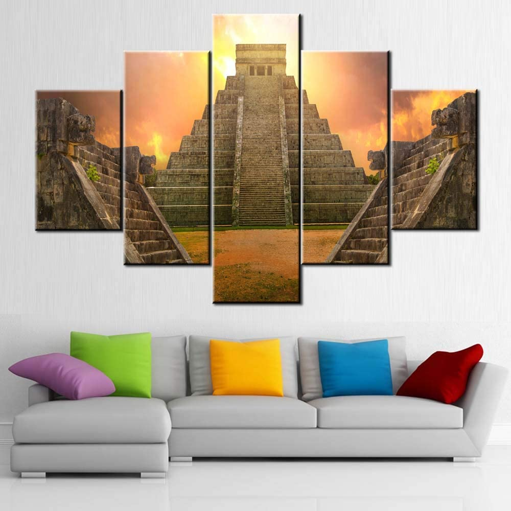 Aztec Pictures for Living Room Great Pyramid and The Ruins Paintings Multi Panel Canvas Wall Art Temple of Jaguar Artwork Modern Home Decor Wooden Framed Gallery-Wrapped Ready to Hang(60''W x 40''H)