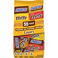 SNICKERS & M&M'S Peanut & Peanut Butter Lovers Fun Size Chocolate Candy Variety Mix 32.2-Ounce 55-Piece Bag
