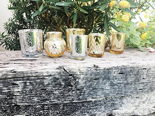 Just Artifacts Silver and Gold 8pcs Assorted (Pattern, Size) Mercury Glass Votive Tealight Candle Holder Set - Mercury Glass Votive Tealight Candle Holders for Weddings, Parties, and Home Décor (Mercury Vases Glass)