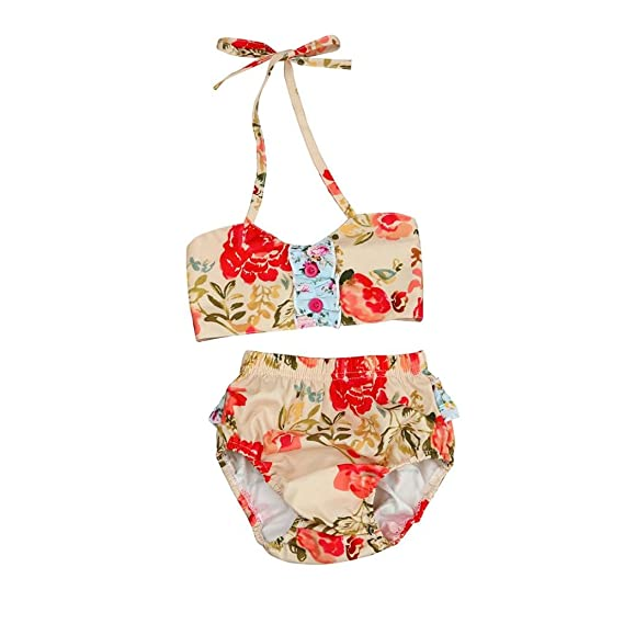 4d81b686c826c Hunputa Baby Girl's Patchwork Floral Printed Buttons 2 Piece Halter Swimsuit  Bikini Bathing Suit 12-