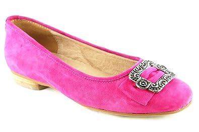 Schuhe Halbschuhe Sommer Ballerinas Echt Leder Rot 2099, Schuhgröße:40 Hirschkogel