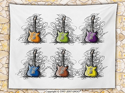 Music Decor Fleece Throw Blanket Sketchy Lined Colored Design Guitar Collage for Teens Rocker Song Lovers Image Throw Multicolor