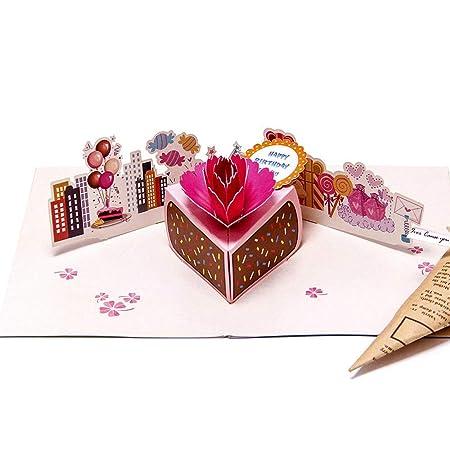YAOJII Tarjeta de Pastel de cumpleaños 3D Pop Up ...