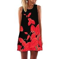 Muranba Casual Dress, Womens Summer Casual Sleeveless Mini Printed Vest Dresses