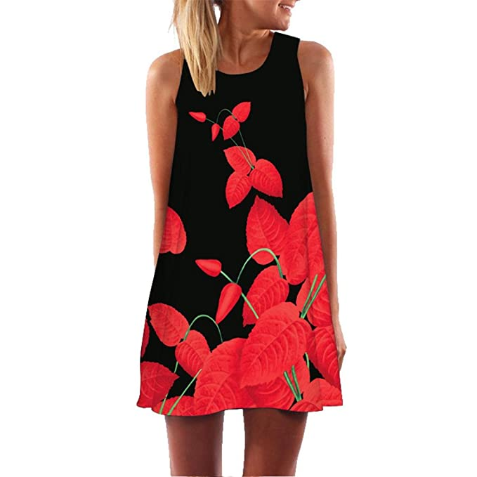 b56e75df5a346 Muranba Casual Dress, Womens Summer Casual Sleeveless Mini Printed Vest  Dresses (Black 96,
