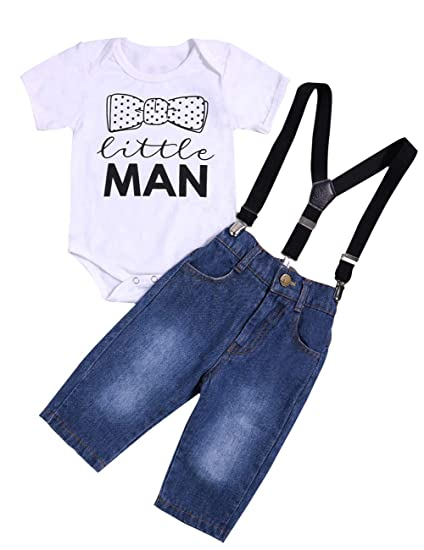 84914db58caf Amazon.com  Newborn Baby Boy Girl Clothes Little Man Romper Bodysuit ...
