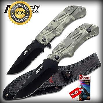 Amazon.com: Mtech - Cuchillo táctico de combate plegable y ...